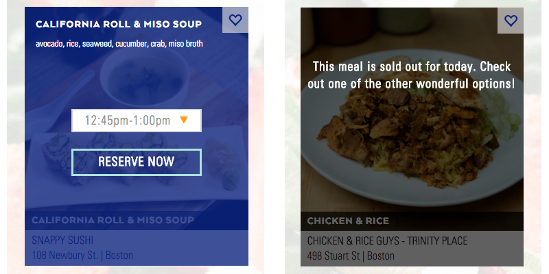 mealpass reservation process and sold out screenshot